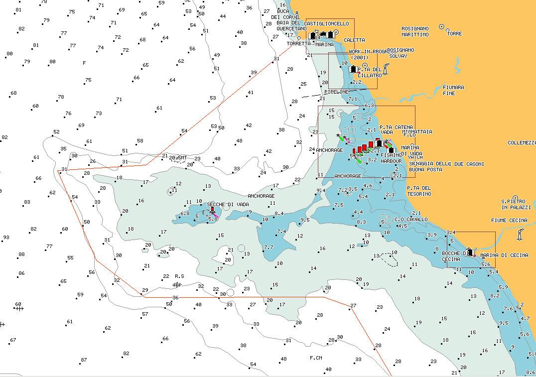 carta nautica Secche di Vada - nautical chart shoals of Vada - intotheblue.it