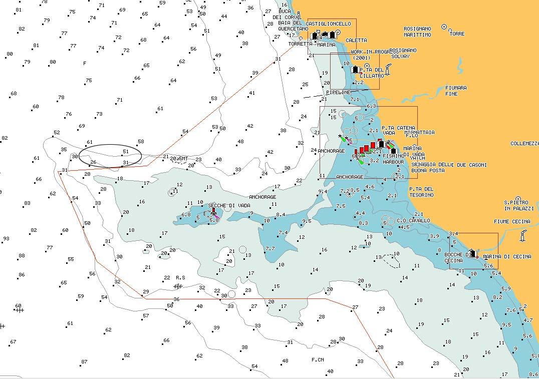 carta nautica Sperone di dentro - nautical chart internal reef promontory
